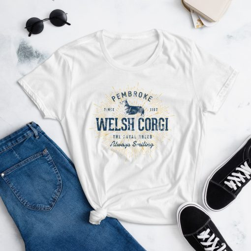 Pembroke Welsh Corgi T-Shirt for Women by Treaja® | Vintage Corgi Shirt for Women
