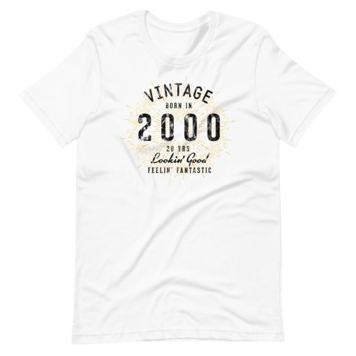 Vintage 20th Birthday Shirt by Treaja® | Unisex Vintage 20 Year Old Birthday T-Shirt