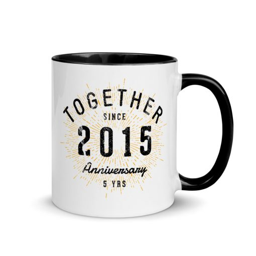 5th Anniversary Mug with Colored Interior by Treaja®