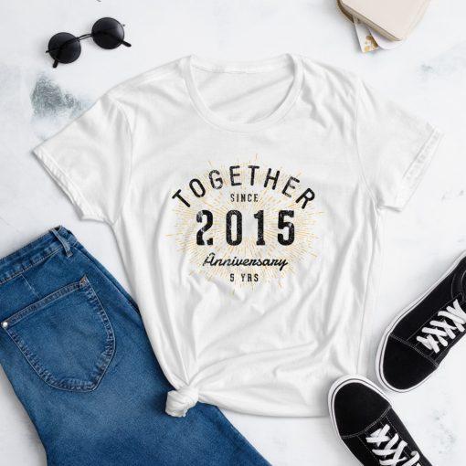 5th Anniversary T-Shirt for Women by Treaja® | Vintage 5th Anniversary Shirt for Women