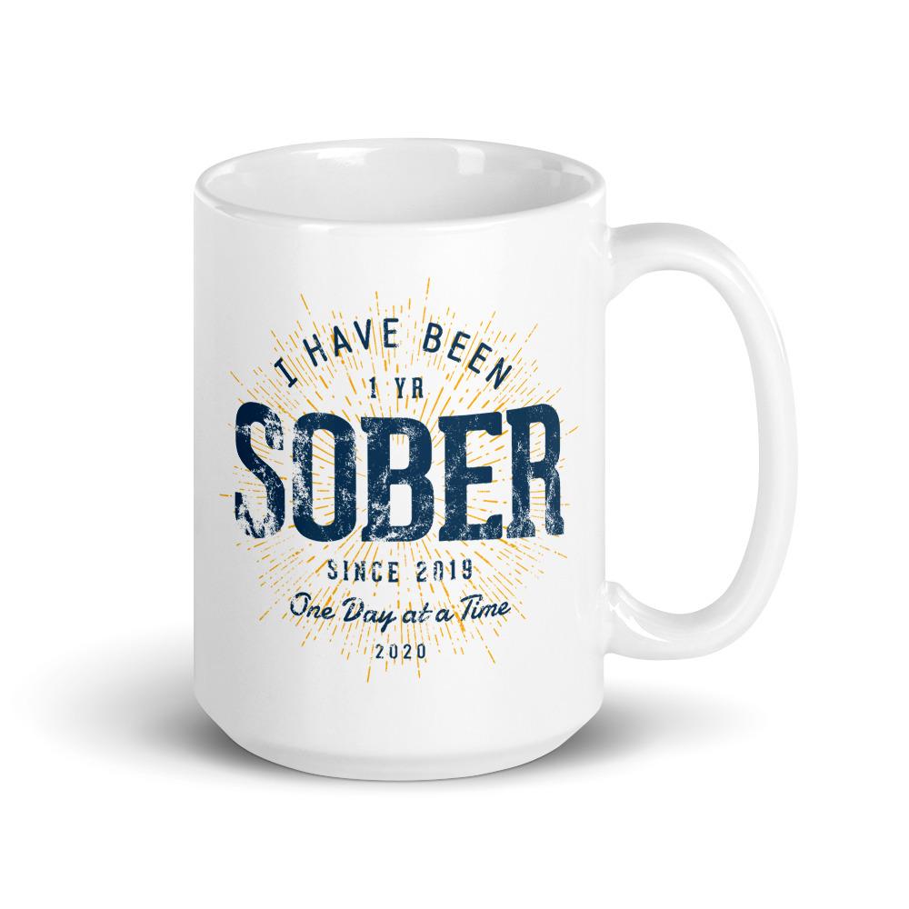 1 Year Sober Mug Sobriety Anniversary Gift by Treaja® | Sober Since 2019 One Year Sobriety Gift