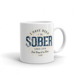 1 Year Sober Mug Sobriety Anniversary Gift by Treaja® | Sober Since 2019 One Year Sobriety Gift