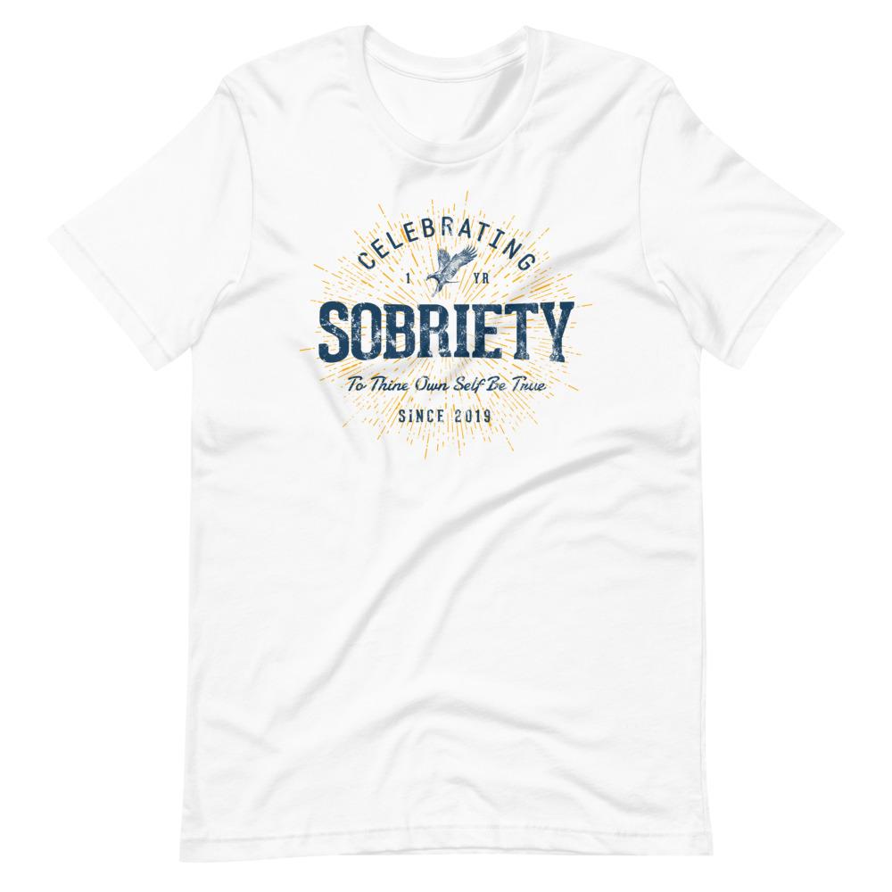 Celebrating 1 Year of Sobriety 1st Anniversary T-Shirt by Treaja® | Unisex Sober Since 2019 Unisex T-Shirt