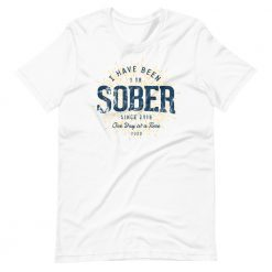 1 Year Sober T-Shirt Sobriety Anniversary by Treaja® | Unisex Sober Since 2019 Unisex T-Shirt
