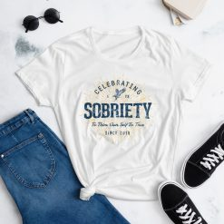 Celebrating 1 Year of Sobriety 1st Anniversary T-Shirt for Women by Treaja® | Vintage Sober Since 2019 T-Shirt