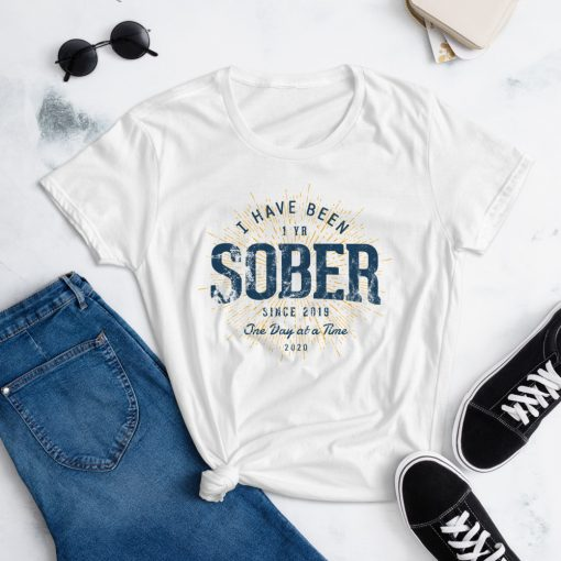 1 Year Sober T-Shirt for Women by Treaja® | Vintage 1st Sobriety Anniversary T-Shirt