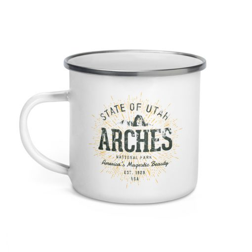 Arches National Park Camper Enamel by Treaja | Vintages Arches National Park Camper Mug