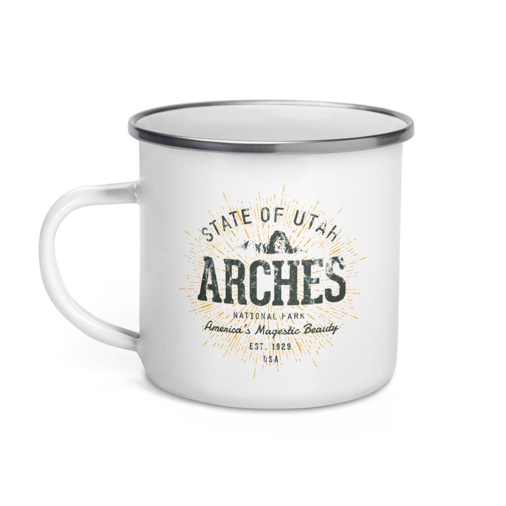 Arches National Park Camper Enamel by Treaja | Vintages Arches National Park Camper Mug