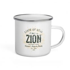 Zion National Park Camper Enamel by Treaja | Vintages Zion National Park Camper Mug