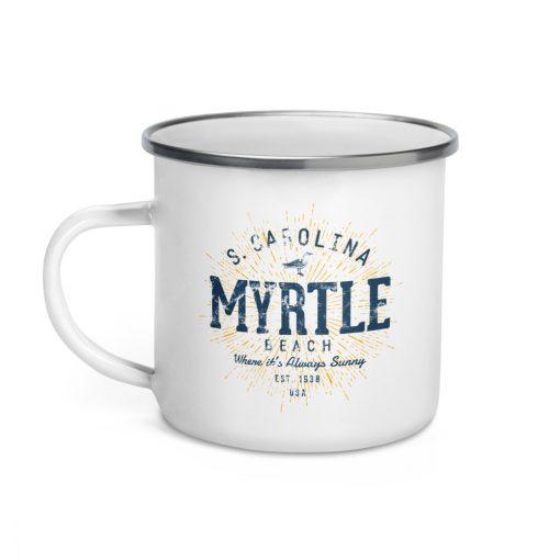 Myrtle Beach Enamel Mug by Treaja® | Vintages Myrtle Beach South Carolina Camper Mug
