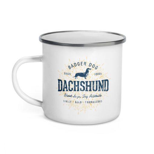 Dachshund Enamel Mug by Treaja® | Vintage New Dachshund Dog Lover Camper Mug
